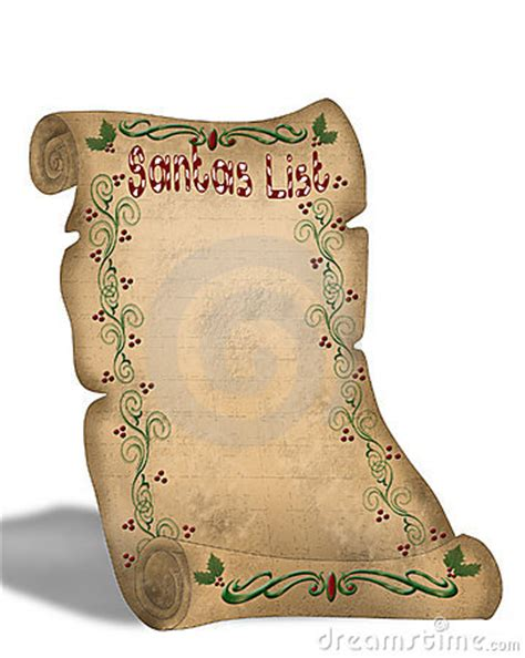 Santa's List On Old Parchment Scroll Royalty Free Stock